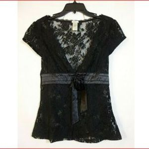 Studio Y Black Sheer Button and Tie Front Cover Up